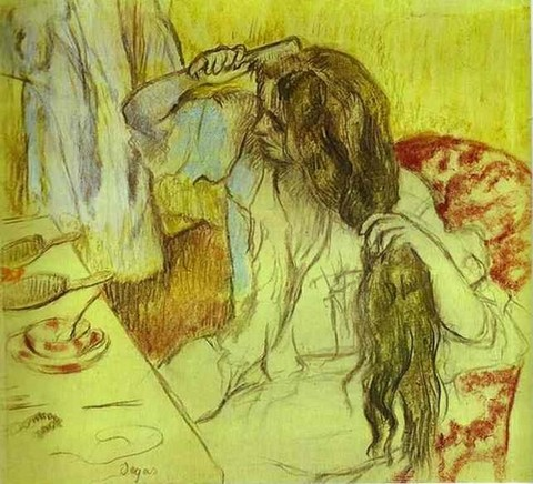 Woman at Her Toilette - Edgar Degas